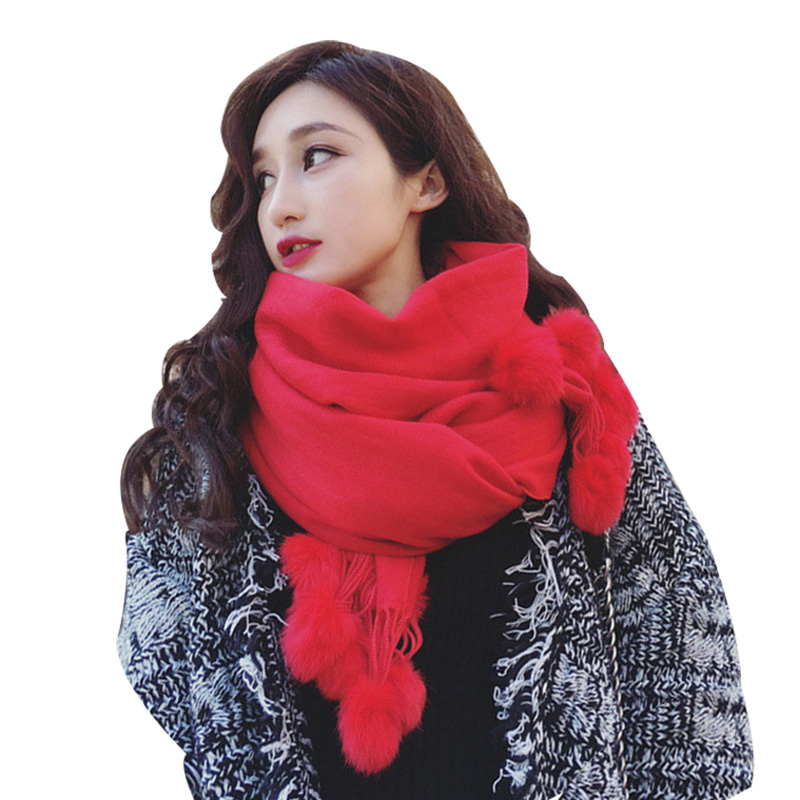 2020 Luxury Brand Rabbit Fur Cashmere Scarf Women Red Shawls Foulard Femme Winter Women's Ponchos Thick Wool Lady Pashminas Wrap