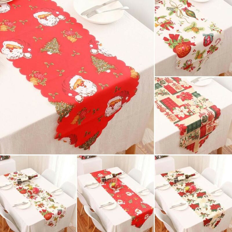 New Christmas Style Series Table Runners Tablecloth Xmas Elk New Year Party Dinner Table Decor