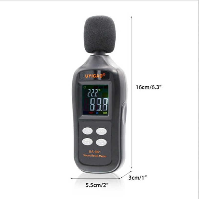 Medidor de Nível de Som Digital portátil Handheld Sensor Inteligente Medidor de Ruído Decibelímetro Detector De Áudio Alimentado por 3 Baterias * AAA