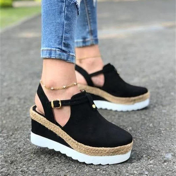 Womens Sandals Vintage Wedge Shoes Woman Buckle Strap Straw Thick Bottom Flats Platform Flock Female Summer 2020