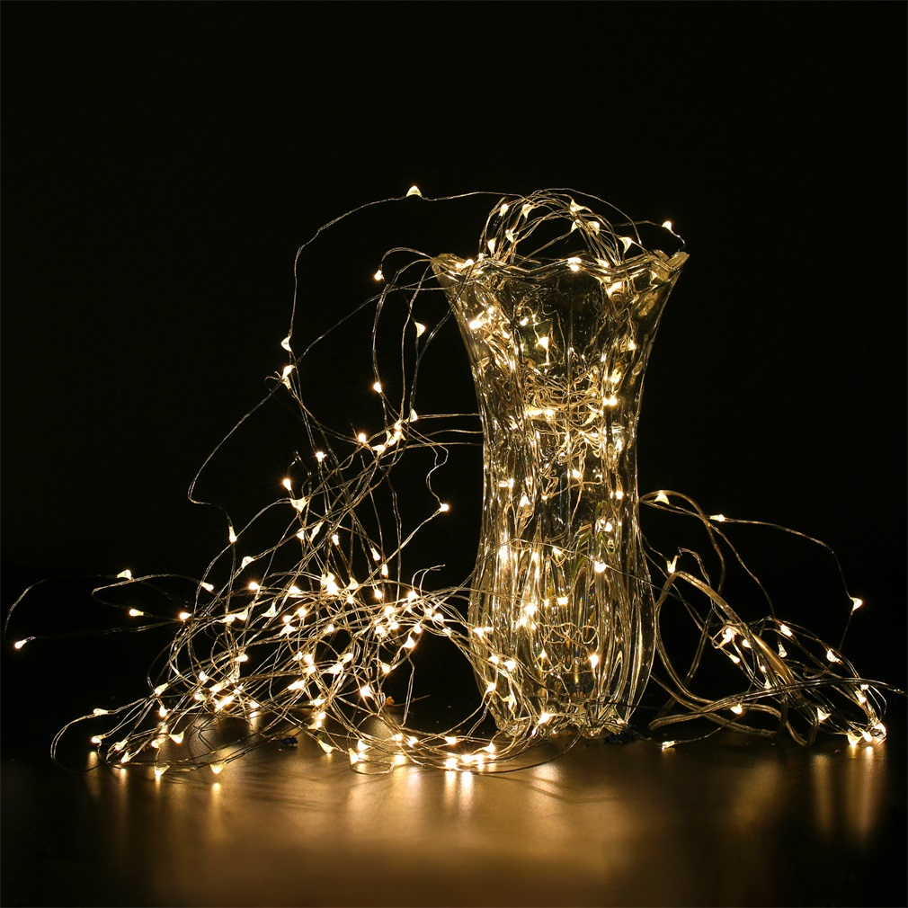 Solar Power String Light Waterproof LED Strip 2m 200 LED Copper Wire Lamp For Outdoor Christmas Decoration Lights