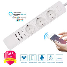 Wifi Smart Power Strip 3 EU Outlets Plug with 4 USB Charging Port Timing App Voice Control Work with Alexa Google Home Assistant