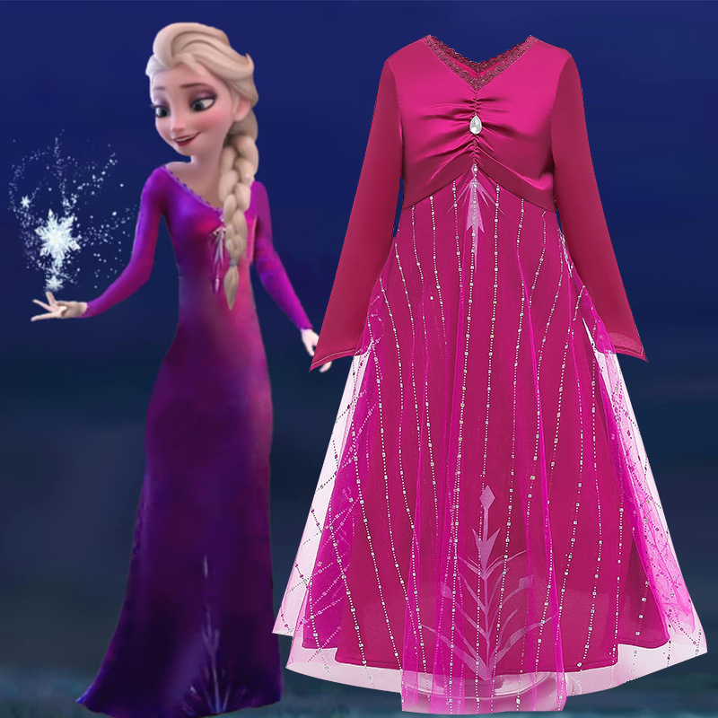 Rose Princess Elsa Dress Girls Long Sleeve Cosplay Elsa 2 Dresses Robe Teens Birthday Party Costume For Kids Carnaval Vestidos