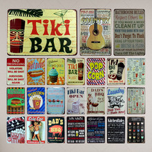 Tiki Bar Tin Signs Kitchen Rules Metal Plate Garage Wall Pub Restaurant Home Art Decor Vintage Iron Poster Cuadros  A-1009 laikou hyaluronic acid face serum moisturizing shrink pores whitening brightening tighten facial essence liquidskin care 15ml