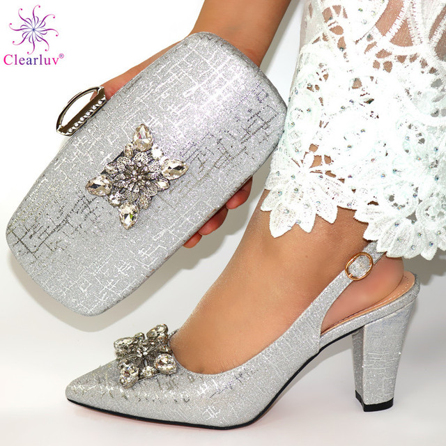 African Style Elegant Ladies Shoes And Matching Bag Set 2019 Italian Design Rhinestone High Heels Shoes And Bag Set For Party 2