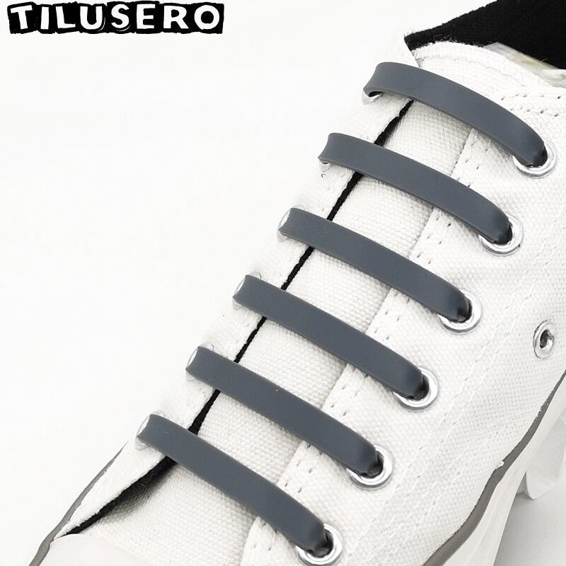 Fashion 12 Pcs Silicone Shoelaces Elastic Shoe Laces No Tie Leisure Sneakers Quick Lazy Laces Child Adult Unisex