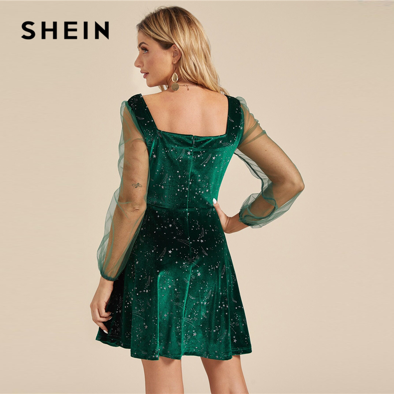 SHEIN Galaxy Print Contrast Sheer Mesh Sleeve Christmas Velvet Dress Women Spring Square Neck A Line Party Short Flared Dresses 2