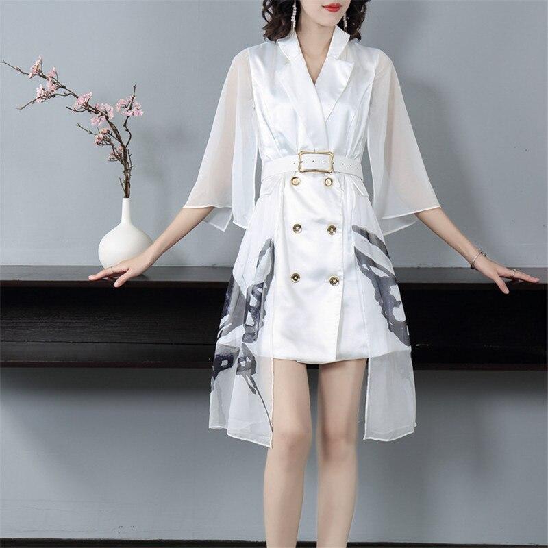 Подиум 2019 Осень Зима Новая мода Белое Женское платье зубчатый двубортный жилет сшивание мини платье Офисная Леди