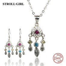 StrollGirl New arrival Authentic 925 Sterling Silver dreamcatcher set necklaces earrings sterling silver jewelry Valentine Gift