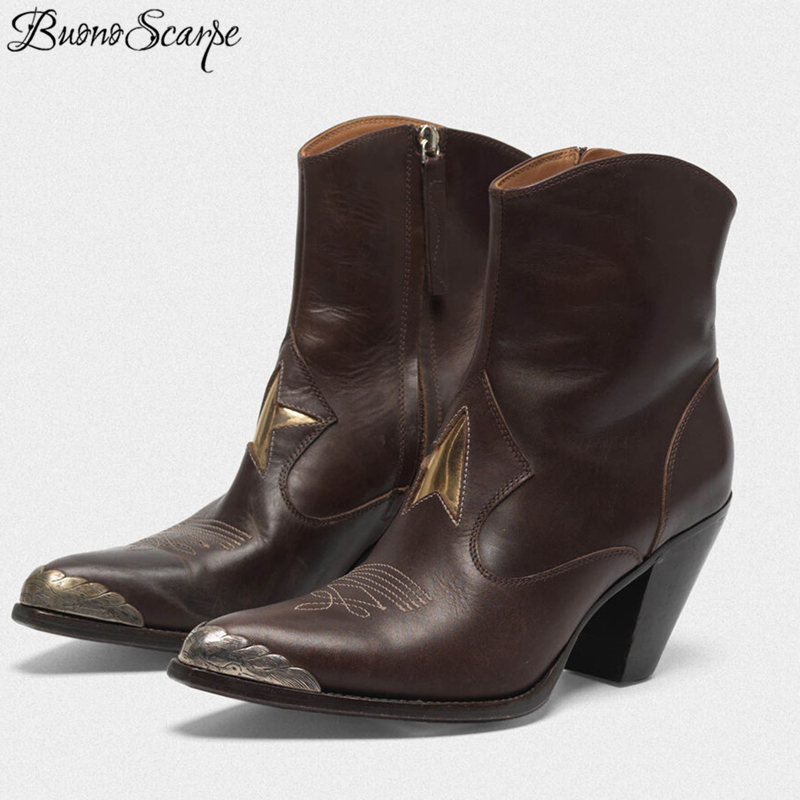 Buono Scarpe Retro Metal Toe Carved Cowboy Boots Women Embroidery High Heel Zapatos De Mujer Genuine Leather Chaussures Femme