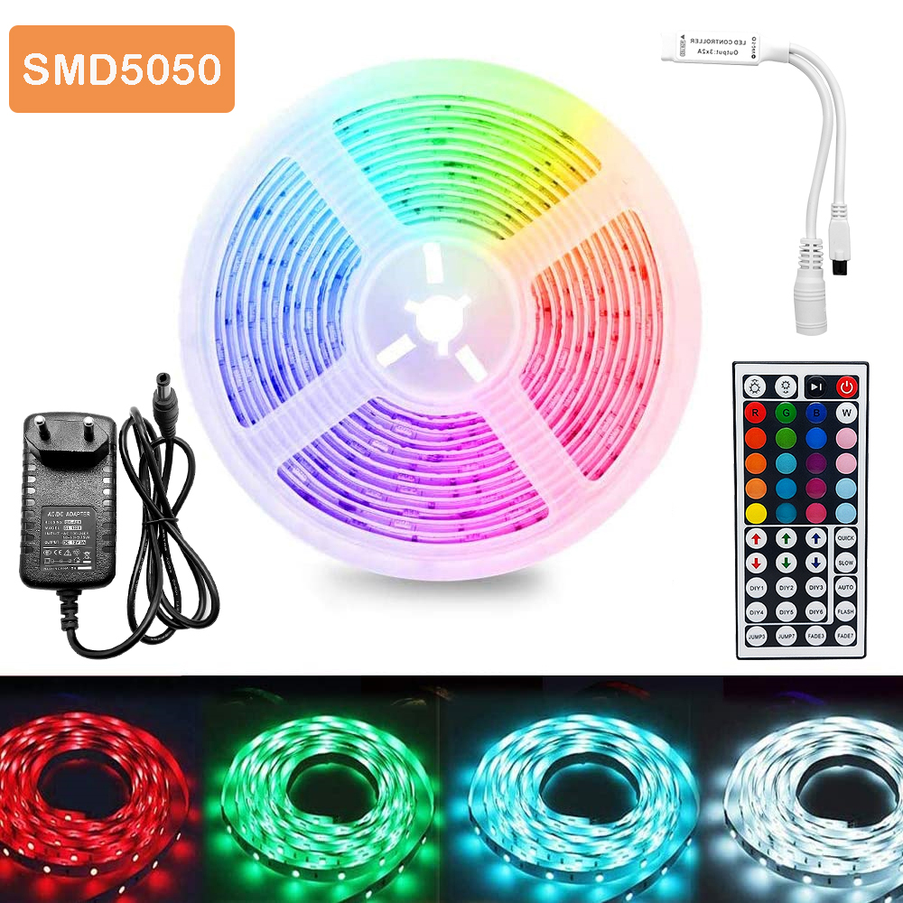 5m 30Leds Non-waterproof RGB Led Strip Light 5050 DC12V 30Leds M 5050 Flexible Lighting Ribbon Tape  24key 44Key IR Controller