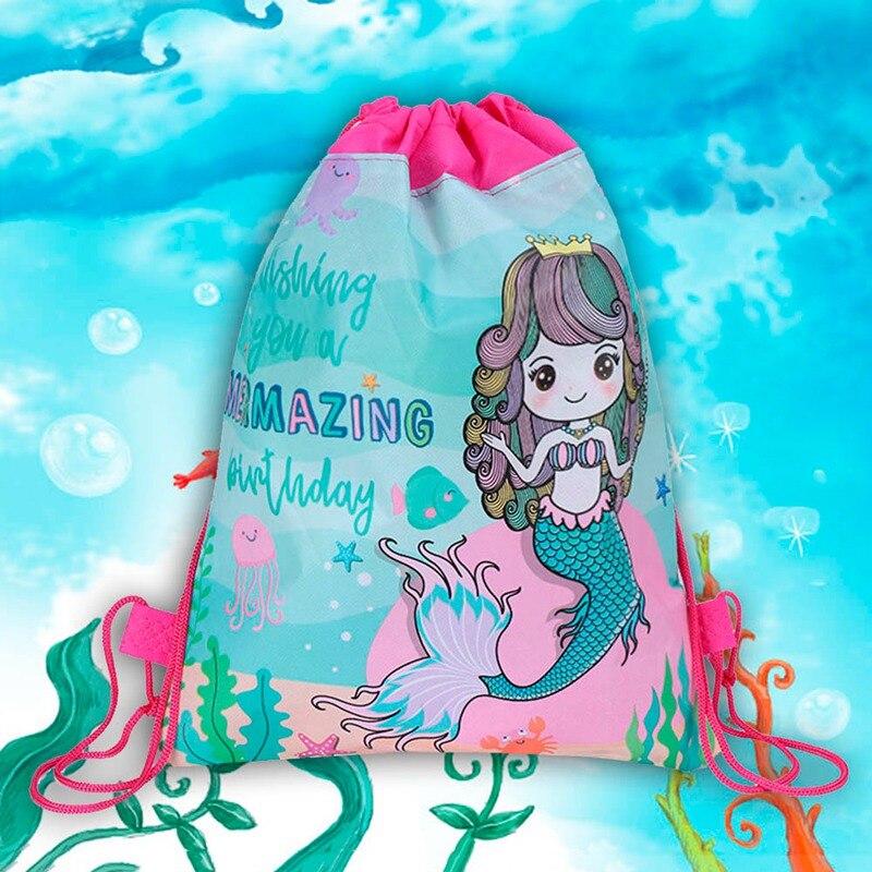 Hot Sale Mermaid Drawstring Bag For Girls Travel Storage Package Cartoon School Backpacks Children Random Color Drop Shipping