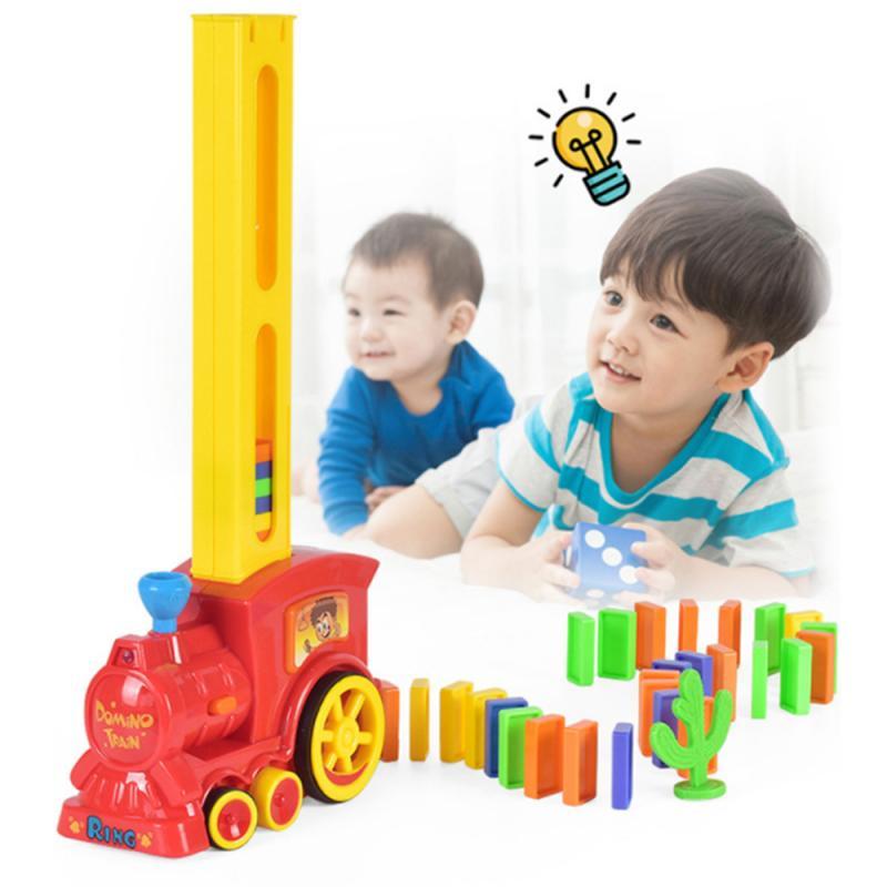 Лидер продаж, Электрический домино, поезд, модель автомобиля, волшебная автоматическая настройка, красочная пластиковая детская развивающ...