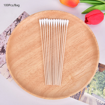 100pc Disposable Wood Cotton Swab Eyelash Extension Tools Medical Ear Care Wood Sticks Cosmetic Cotton Swab Cotton Buds Tip