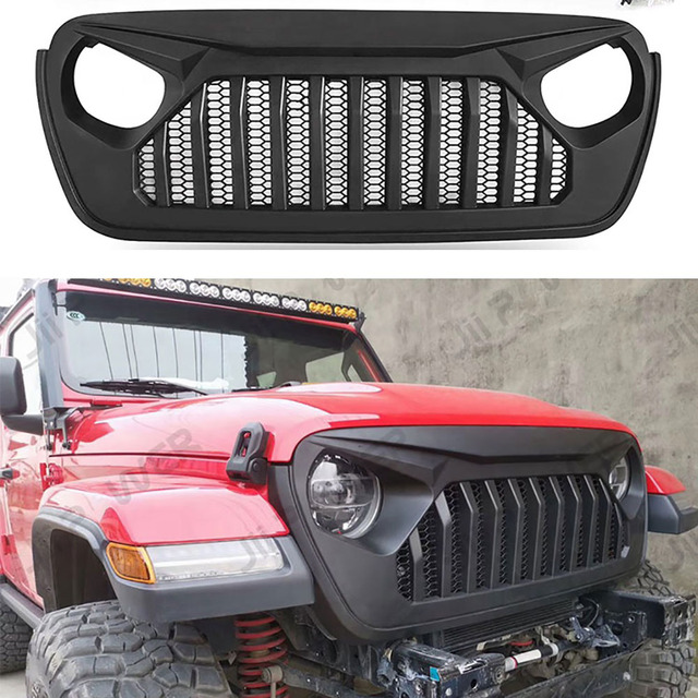 Car Styling Racing Grill For Jeep Wrangler JL 2018 2020 Front Mesh Race Mask Grills Modified Accessories