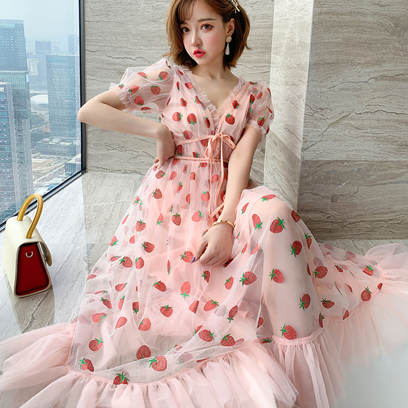 Runway Rhinestone Diamonds Strawberry Pink Mesh Maxi Dress Women Short Puff Sleeve Sexy V-neck Lace-up Bow Tunic Lolita Dress (26)