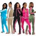 Clmdiz sólido listrado conjunto feminino 2020 design moda venda quente terno conjunto de treino feminino roupa de duas peças moletom esporte wear