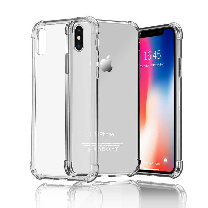 TPU Silikon Case untuk iPhone XR X 11 Pro Max X 6 7 8 6S Plus Jelas Penutup Transparan telepon Coque Capa For iPhone X 8 7 6 5 Se