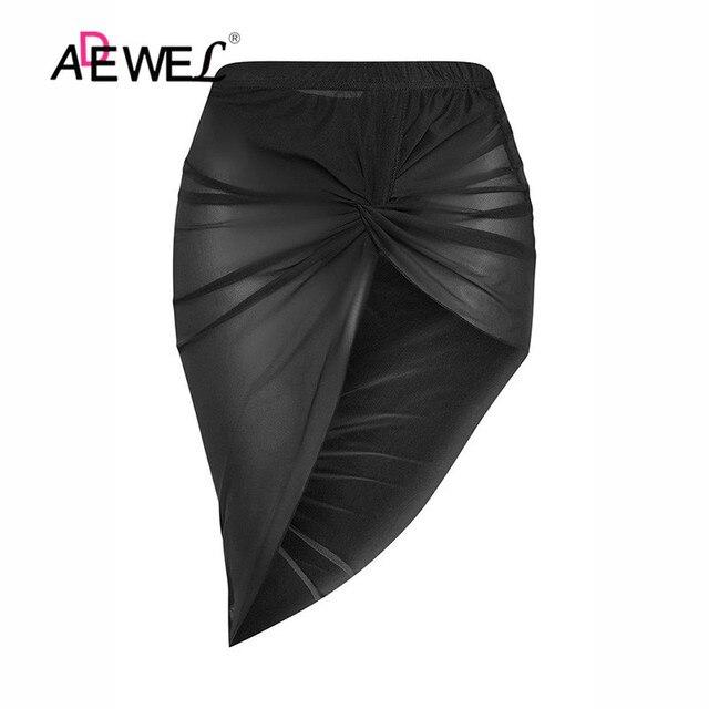 ADEWEL Black Twist Ruched Beach Skirt Women Bikinis Swimsuit Bathing Suit Cover-ups Sexy Beach Skirts Lightweight Beachwear 8