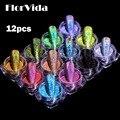 FlorVida 12pcs Kit Holographic Glitter Mirror Powder Nail Art Chrome Pigment Dusts Rub On Nails Design For Manicure Set Salon