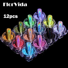 FlorVida 12pcs Kit Holographic Glitter Mirror Powder Nail Art Chrome Pigment Dusts Rub On Nails Design For Manicure Set Salon