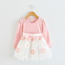 Для детей; Одежда для малышей; Однотонная Прекрасный платье для маленьких девочек; Детская одежда с длинным рукавом и юбкой из фатина в стил...
