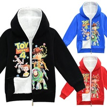 2019 New Winter 3D print Toy Story Sheriff Woody Zip Up velvet Hoodie Jacket clothing kids boys girls Warm Fur Dowm Coats 4-10Y