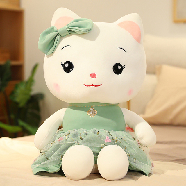 Lovely Beaty Cuddly Toy Cat Pink Green Pillow Plush Toys Animals Cushion Stuffed Classic Toys For Children Girls Birthday Gift