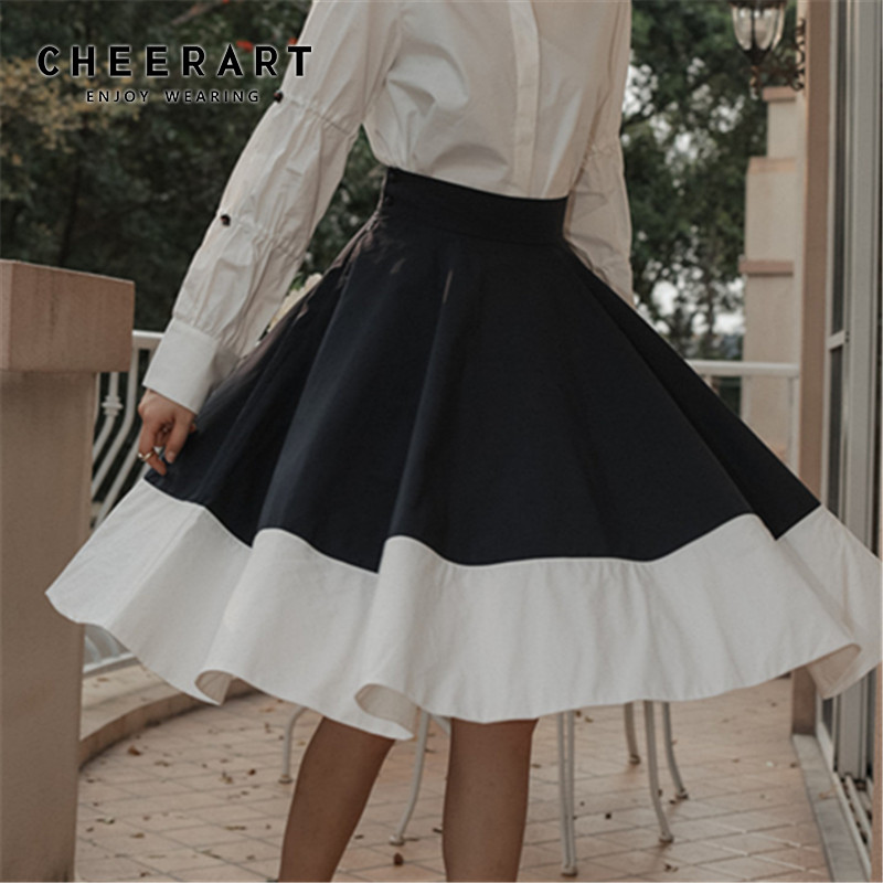 CHEERART Hofn Vintage High Waist <font><b>Skirts</b></font> Womens Black White Swing Full <font><b>Skirt</b></font> Knee Length <font><b>Ball</b></font> Gown Short <font><b>Skirt</b></font> Clothing image