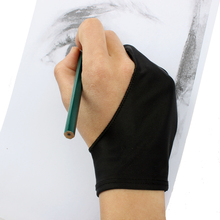 Black 2 Finger Anti-fouling Glove Artist Drawing for Any Graphics Drawing Tablet