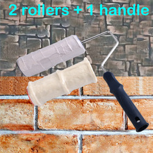 2pcs Paint Roller Brick Pattern Wall PaintingTools Rubber Stamp Textured Pottery Wheel Household Wall Decoration Brush