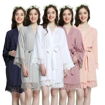 New Rayon New Solid Cotton Lace Trim Robe  Kimono Robes with Lace Trim Women Wedding Bridal Robe Short Belt Bathrobe scallop trim lace embroidered kimono