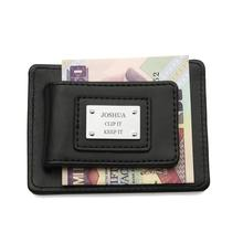Personalized Real Leather Mens Money Clip Wallet for Fathers Day Birthday Grooms