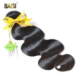 BAISI Human Hair 10A Brazilian Virgin Hair Weave Bundles 100% Unprocessed Brazilian Body Wave Bundles Hair Extensions(China)