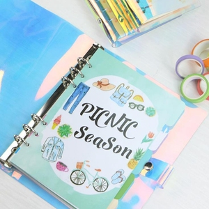 A5 A6 A7 PVC Rainbow Laser Binder Transparent Notebook Diary Cover School DIY 6 Holes Binder Diary Planner Cover Office Supplies