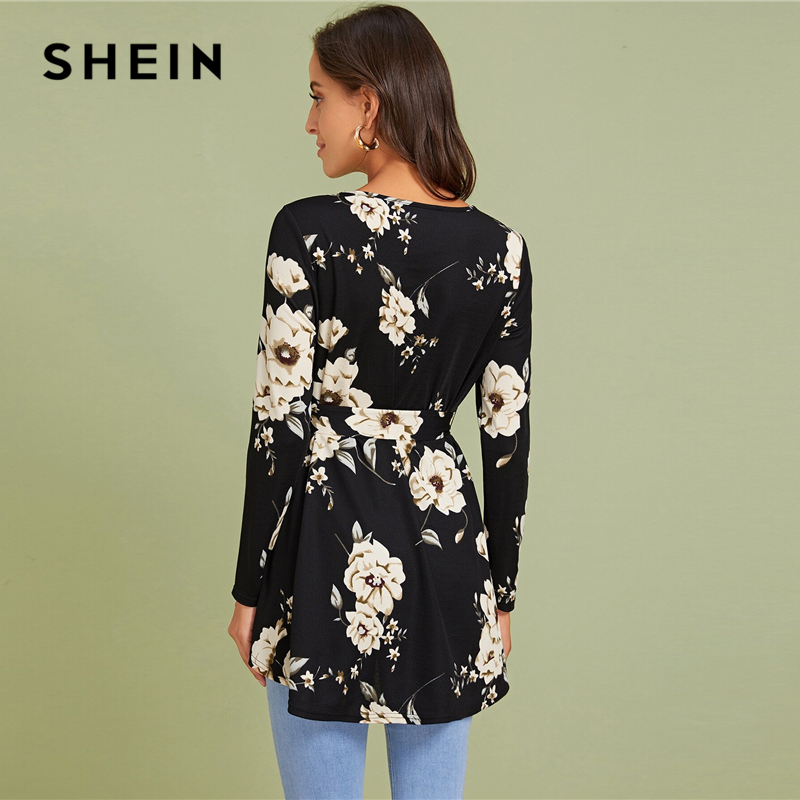 SHEIN Floral Print Self Belted Dip Hem Blouse Top Women Spring Autumn Long Sleeve Round Neck Elegant Tops and Blouses 2