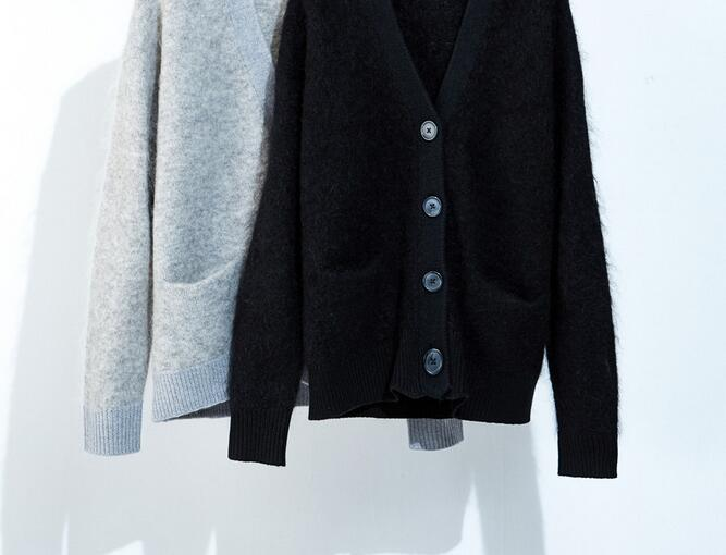 Image 2 - Women Sweater 2019 Autumn / Winter Mohair Wool Blend Buttoned V neck Knit Cardigan  Loose SweaterPullovers