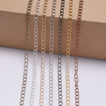 цена 5meters/lot 2.5-4.8mm Gold Plated Rope Link Chain Necklace Supplies DIY For Brass Bulk Chain Jewelry Findings Accessories онлайн в 2017 году