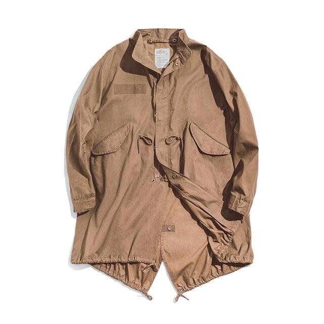 Veste homme Maden hommes Vintage M51 queue de poisson armée vert et Camel Trench manteau tissé taille corde mi-longue surdimensionné ample militaire manteau 6