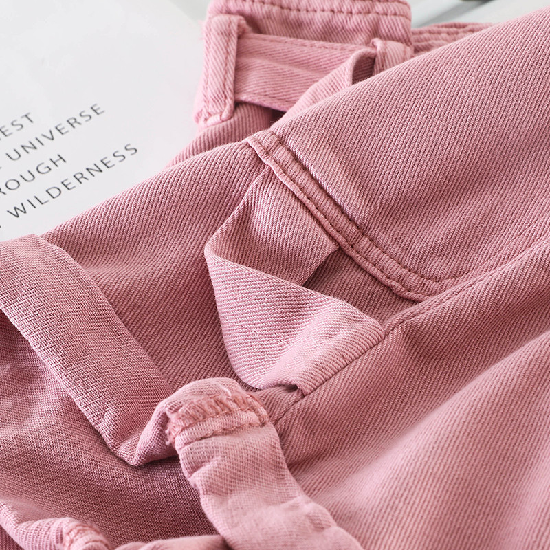 Hcf1e4221979f4b4c9d6aeb865afb19b2Z - Retro Denim Shorts Women Spring Summer Wide Leg Shorts With Belt Casual Hotpants Pink White Jeans High Waist Women Shorts C6129