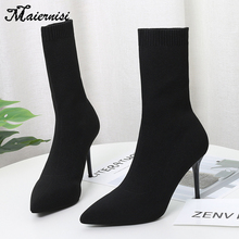 Female pointed boots new sexy socks high heels ladies 34-42