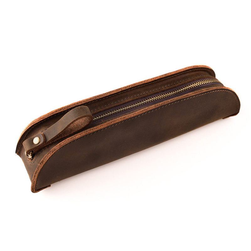 Pencil Bag Handmade Nature Genuine Leather Pen Bag Pouch Retro Vintage Style Cowhide Zipper Pen Case Gift 21.5*4.5 Cm