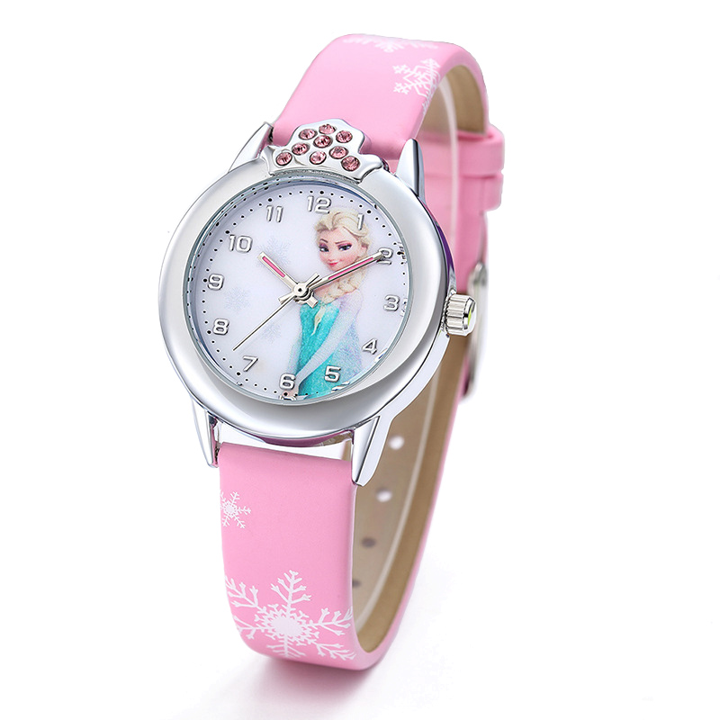 2020 New Cartoon Children Watches Princess Girls Kids Watch Spiderman Boys Students Quartz Clock Fashion Leather Wristwatch