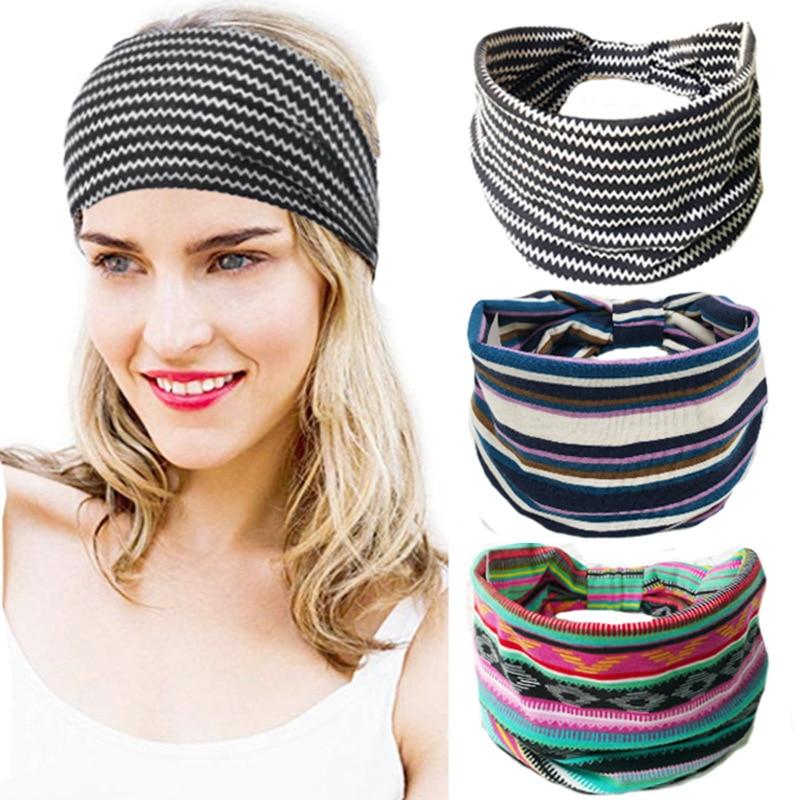 Bohemian Wide Cotton Stretch Headbands Women Headwrap Turban Headwear Bandage Hairbands Bandanna Wide Headbands Hair Accessories