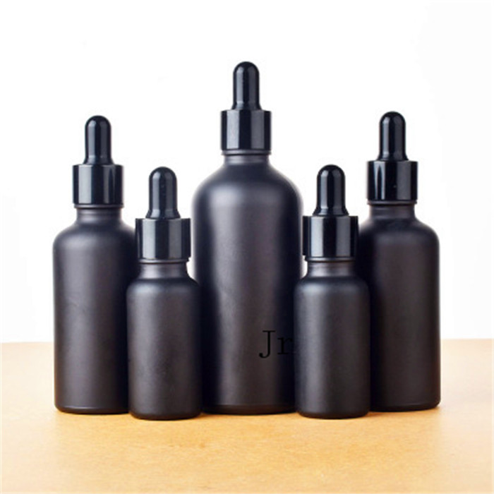 12pc 100ml 50ml 30ml 20ml 15ml 10ml 5ml Frost Black Glass Essential Oil Dropper Bottle Essential Drop Vials Cosmetic Containers