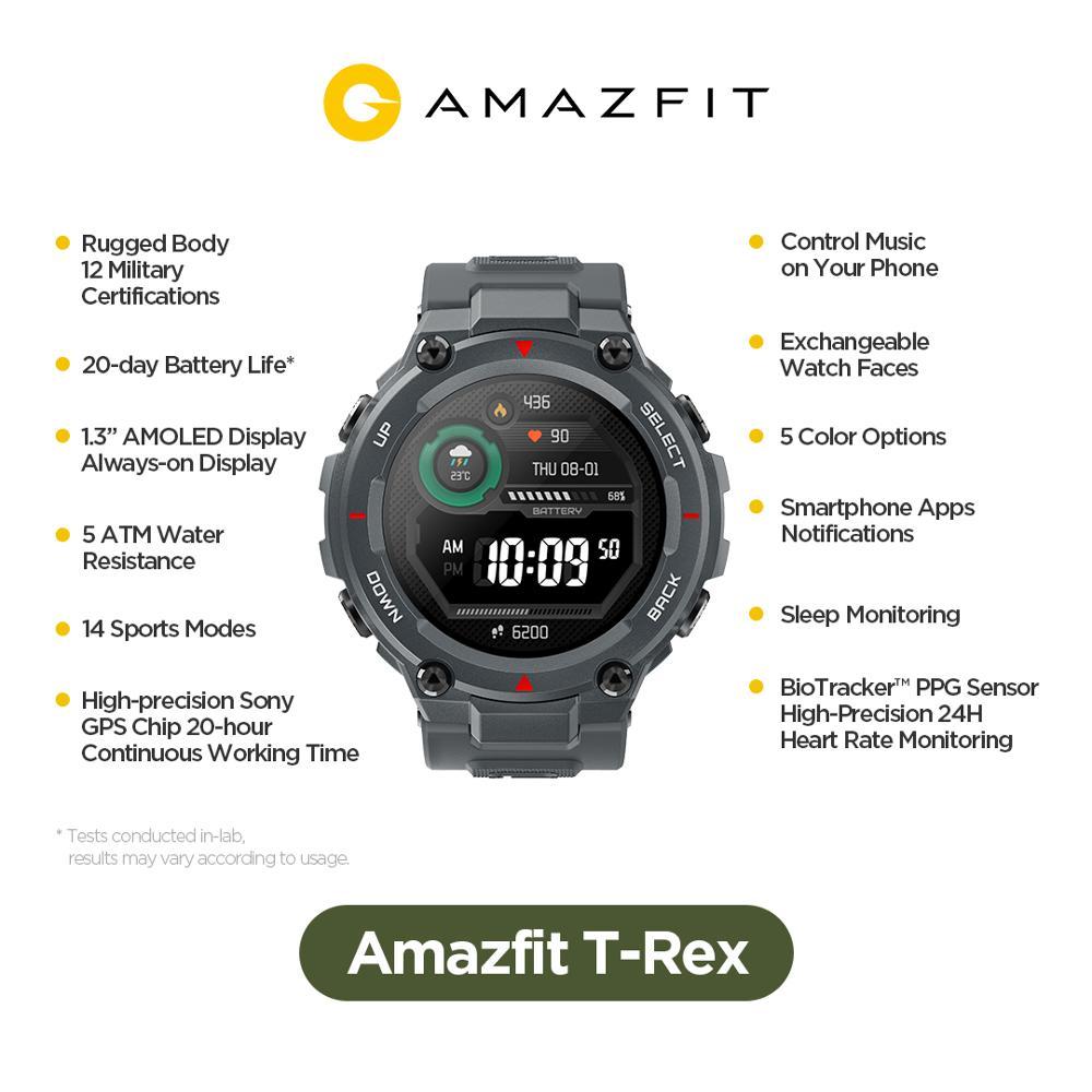 Новинка 2020 Смарт-часы CES Amazfit T rex T-rex управление музыкой 5ATM Смарт-часы GPS/GLONASS Срок службы батареи 20 дней раньше для Android-1