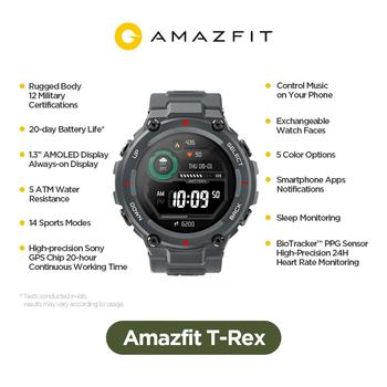 New 2020 CES Amazfit T rex T-rex Smartwatch Control Music 5ATM Smart Watch GPS/GLONASS 20 days battery life MIL-STD for Android Electronics Smart Watches
