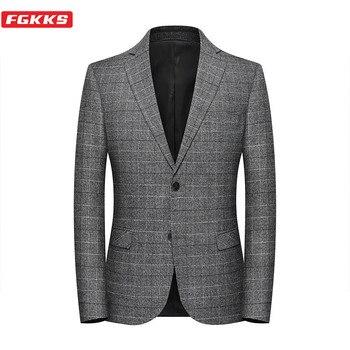 Chaqueta corta FGKKS para hombre de negocios Casual para hombre con estilo americana para primavera y otoño chaqueta ajustada para hombre