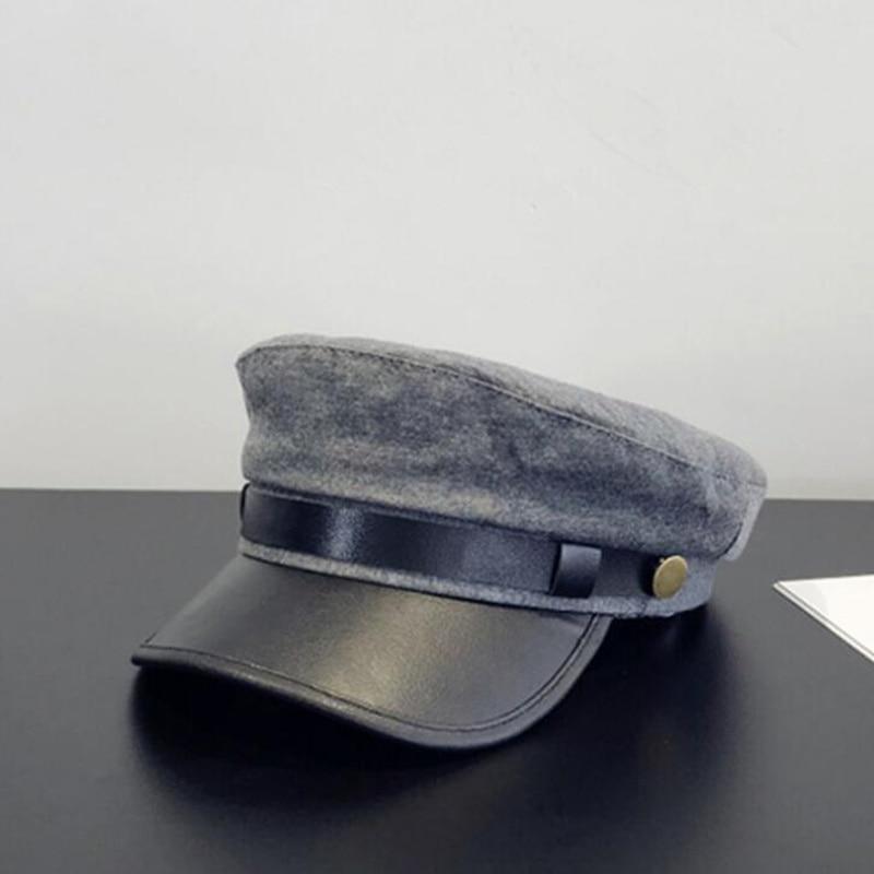 2019 New Flat Top Winter PU Cap Fashion Wool Military Hat Woman Autumn Warm Thickening Leather Bone Newsboy H4