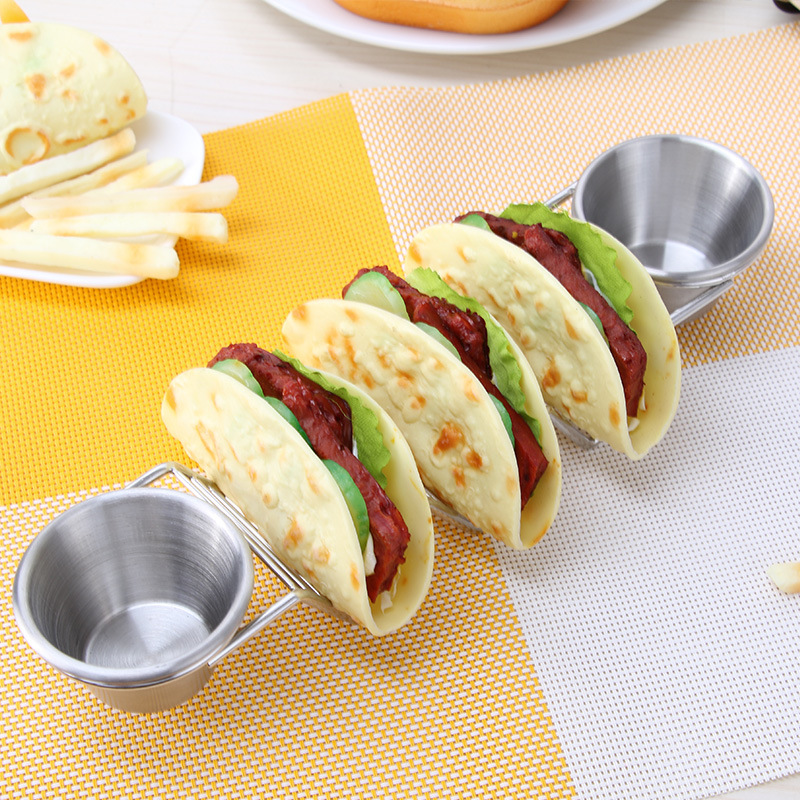 Kitchen Taco Dessert Holders Stainless Steel Food Rack with Seasoning Cup Wave-Shaped Pizza Food Stand Taco Rack Display Rack image